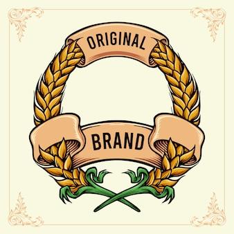Emblema de trigo com fita vintage