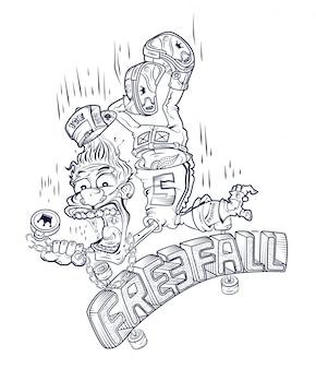Emblema de um cara caindo de um skate