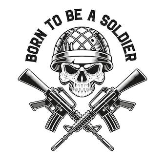 Emblema de um soldado caveira com rifles m16