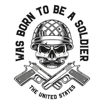 Emblema de uma caveira com armas
