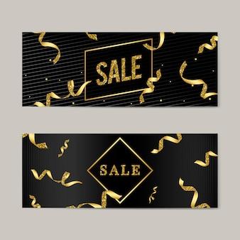 Emblema de venda com vetor de fitas