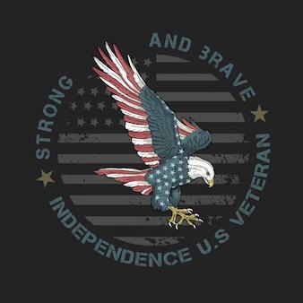 Emblema de veterano de águia americana forte e corajoso