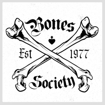 Emblema de vetor de crânio de ossos cruzados