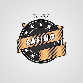 Emblema de vetor de modelo de cassino com chip de cassino na cor preta