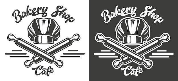 Emblema de vetor sobre o tema de padaria e café em casa.