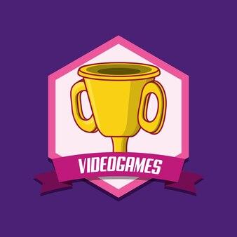 Emblema de videogame com ícone do troféu sobre fundo roxo