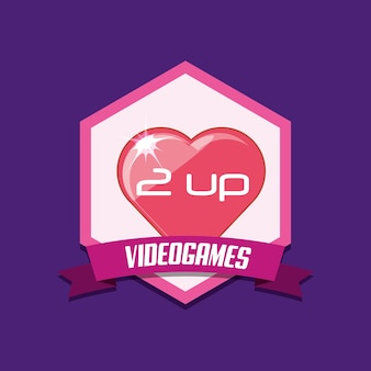 Emblema de videogame com ícone sobre fundo roxo