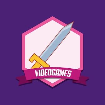Emblema de videogame com o ícone da espada sobre fundo roxo