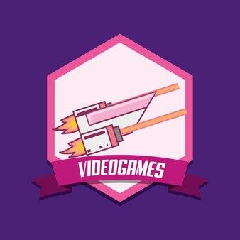 Emblema de videogame com o ícone de arma flash sobre fundo roxo