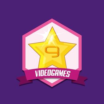 Emblema de videogame com o ícone de estrela sobre fundo roxo