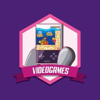 Emblema de videogame com o ícone do console sobre fundo roxo