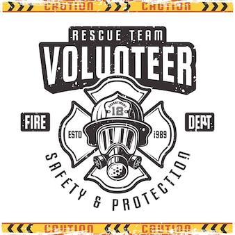 Emblema de voluntário para corpo de bombeiros em estilo vintage isolado