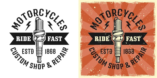 Emblema, distintivo, etiqueta, logotipo ou t-shirt de vetor de vela de ignição estampado em dois estilos monocromático e vintage colorido com texturas grunge removíveis