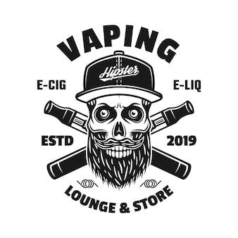 Emblema, distintivo, etiqueta ou logotipo monocromático de vetor de vaporização com uma caveira barbada na tampa e dois cigarros eletrônicos cruzados isolados no fundo branco
