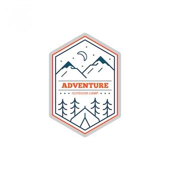 Emblema do acampamento da linha preto e branco. alpinismo e emblema do acampamento da floresta.
