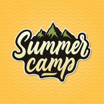 Emblema do acampamento de verão, adesivo, logotipo.