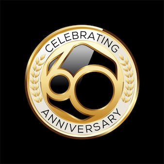 Emblema do aniversário de anos isolado em preto