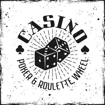 Emblema do cassino com dados de jogo em plano de fundo texturizado