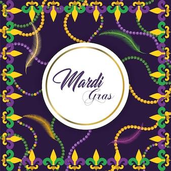 Emblema do círculo com decoração de colar ao evento de merdi gras