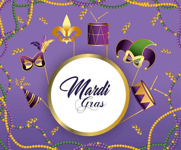 Emblema do círculo com decoração de festa para merdi gras