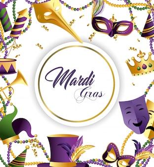 Emblema do círculo com máscaras e decoração de chapéu para merdi gras