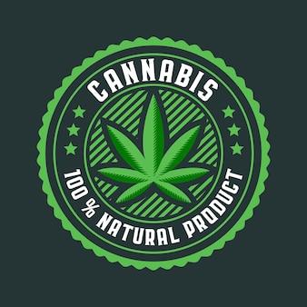 Emblema do círculo da folha de cannabis