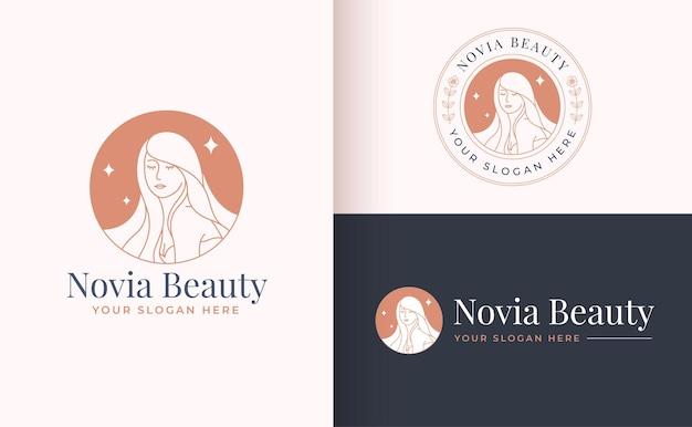 Emblema do círculo vintage linha arte floral design de logotipo feminino