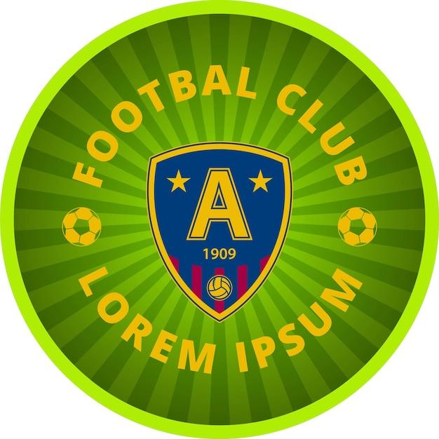 Emblema do clube de futebol em um círculo. tamplate de vetor. ícone verde sobre fundo branco.