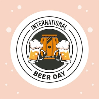 Emblema do dia da cerveja com barril