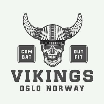 Emblema do emblema da etiqueta do logotipo do vintage vikings em estilo retro com citação de arte gráfica monocromática