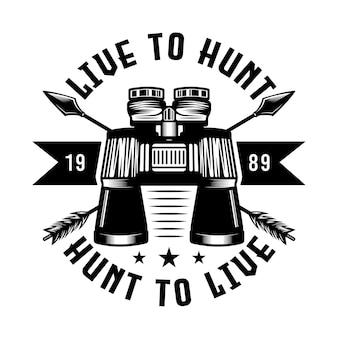 Emblema do emblema de caça e aventura binocular vintage