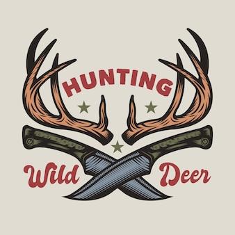 Emblema do emblema de caça e aventura vintage