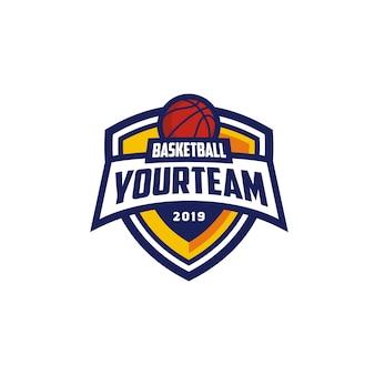 Emblema do emblema do clube de basquete design de logotipo