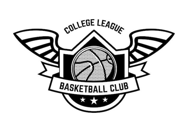 Emblema do esporte basquete com asas