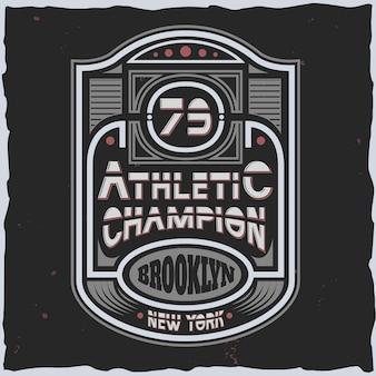 Emblema do esporte com texto de campeão atlético estilo anos 80