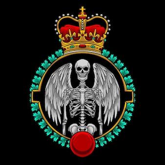 Emblema do esqueleto de anjo com logotipo da coroa