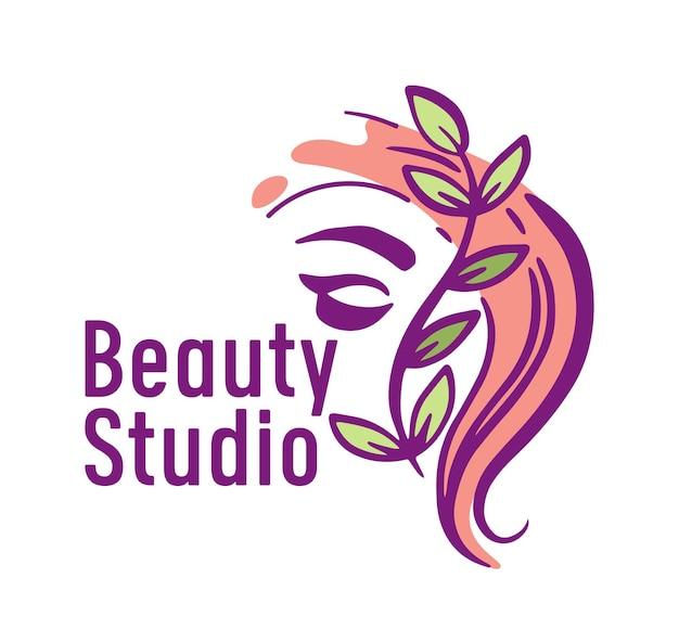 Emblema do estúdio de beleza com rosto feminino e folhas verdes sobre fundo branco. logotipo do salão de corte de cabelo, etiqueta isolada para barbearia, salão feminino, banner criativo de serviço de corte de cabelo. ilustração vetorial
