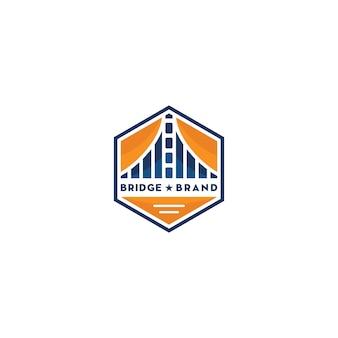 Emblema do hexágono com logotipo da ponte