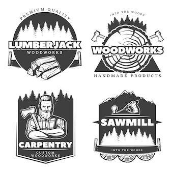 Emblema do lenhador de madeira