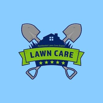Emblema do logotipo da empresa de jardinagem para cuidados com o gramado com escudo e pá