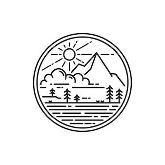 Emblema do logotipo da montanha monoline