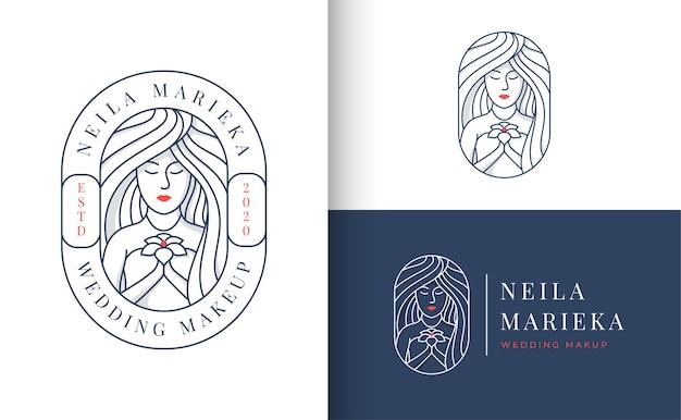 Emblema do logotipo de casamento com uma mulher segurando flores