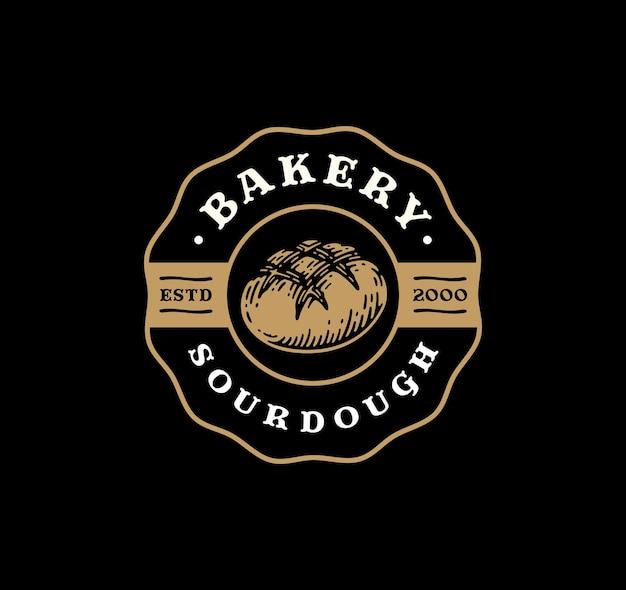 Emblema do logotipo de pão de massa fermentada em design vintage.
