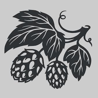 Emblema do logotipo de semente de lúpulo de cerveja artesanal em preto e branco