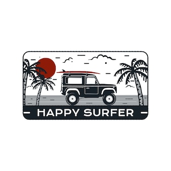 Emblema do logotipo de surf