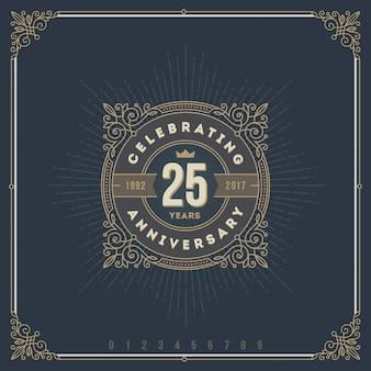 Emblema do logotipo do aniversário vintage com elementos decorativos caligráficos floreios.