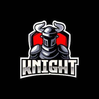Emblema do logotipo do mascote do esporte eletrônico medieval guerreiro cavaleiro