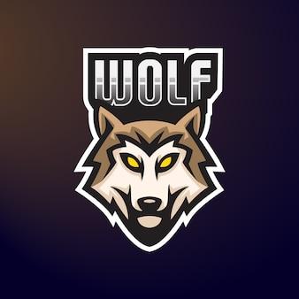 Emblema do logotipo do mascote do wolf e-sport