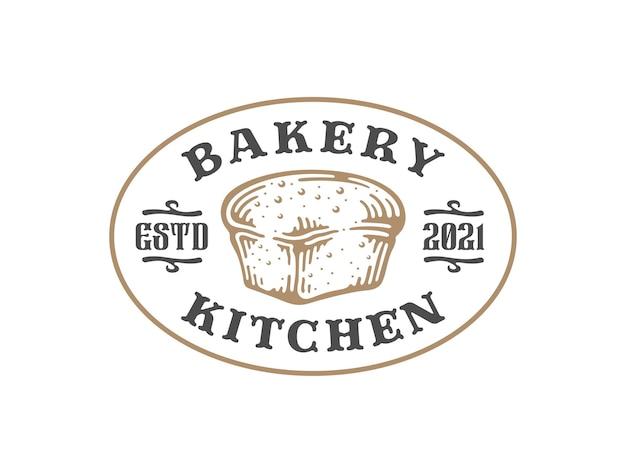 Emblema do logotipo do naco de pão em design vintage.