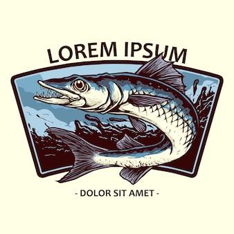 Emblema do logotipo do peixe barracuda na onda para pesca
